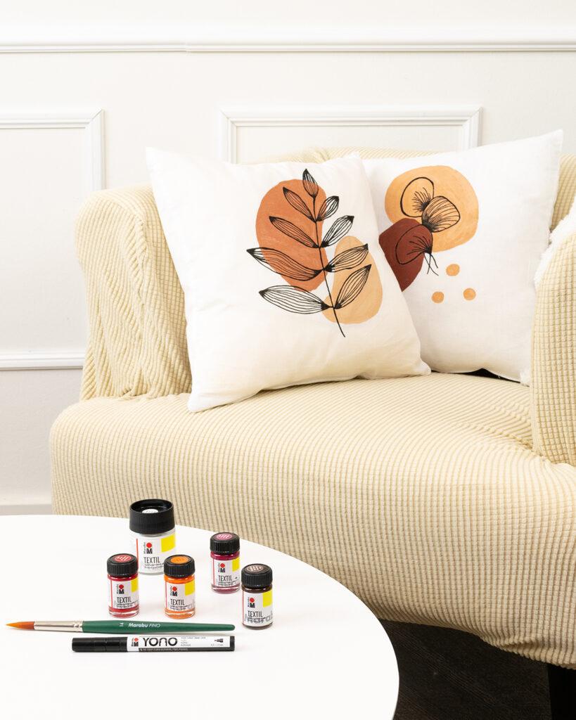 Marabu Textilmarker auf Kissen